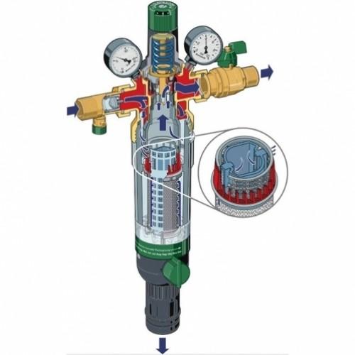 Honeywell HS10S-1/2AAM комбінований фільтр для механічного очищення гарячої води зі зворотним промиванням з редукційним і зворотним клапанами